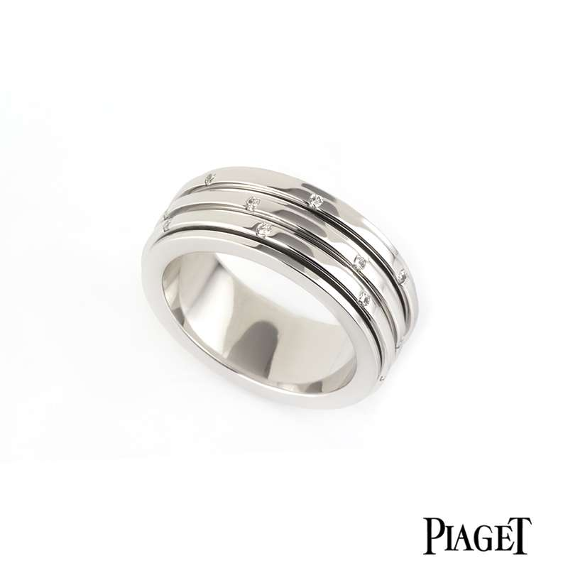 Piaget 18k White Gold Diamond Set Possession Ring B&P G34PO454